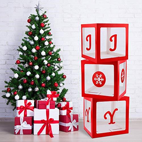 Aneco 3 Pack Christmas Storage Box Christmas Box Decorations Transparent Joy Box Christmas Large Box Christmas Holiday Red Decor for Party Wedding Supply Home Fireplace Decor