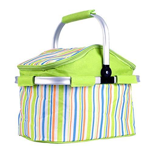 Viner Gestreepte aluminiumfolie Draagbare mand Opvouwbare polyester isolatie Koude picknickmand voor buiten, groen