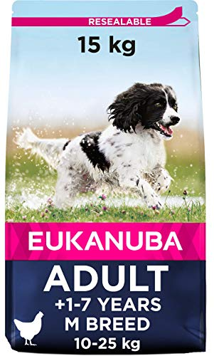 Eukanuba Dry Dog Food Adult with Medium Breed Chicken, 15 kg