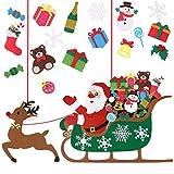 Decoración de Navidad, YHLZGOOD Adorno de Navidad de fieltro DIY Santa Claus en trineo de renos Adornos para los niños Xmas Party Gifts Supplies