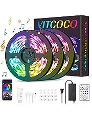 VITCOCO 12M Tira LED Bluetooth, LED Strip 5050 RGB de Impermeable Flexibles Multicolor 300 LEDs Strip Con Mando a Distancia y Adaptador Corriente Para TV/Fiestas