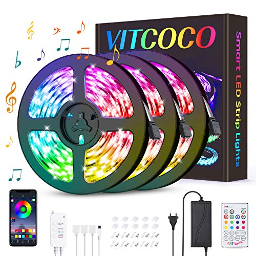 VITCOCO 12M Tira LED Bluetooth, LED Strip 5050 RGB de Impermeable Flexibles Multicolor 300 LEDs Strip Con Mando a Distancia y Adaptador Corriente Para TV/Fiestas