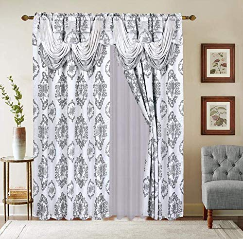 """LinenTopia Classical Jacquard Window Drape Set, 2 Panels with Attached Valance + Sheer Backing, Fancy Victorian Style Damask Curtain Drape for Living Rooms, (Leyla, 84"""",Gray)"""