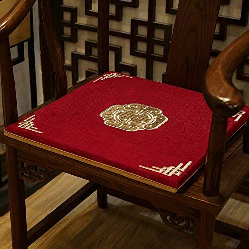 Cojín cuadrado para asiento de bordado, esponja de algodón de cáñamo, almohadilla gruesa antideslizante para silla, decoración del hogar, oficina, futón, espuma con efecto memoria, C, 50x44x3cm(20x17x1inch)