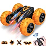 VAZILLIO Remote Control Stunt Car, 2.4 GHz RC Stunt Car Toy, Stand 360° Rotate Hot Speed Racing Car with Rechargeable Battery, Christmas Birthday Toys Gifts for Kids Boys Girls (Orange)