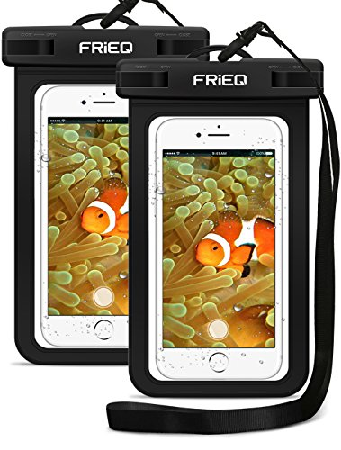 FRiEQ Waterproof Case For Outdoor Activities - Waterproof Bag/Pouch For iPhone X/8/8plus/7/7plus/6s/6s plus/Samsung Galaxy S9/S9 Plus - IPX8 Certified To 100 Feet (2-Pack)