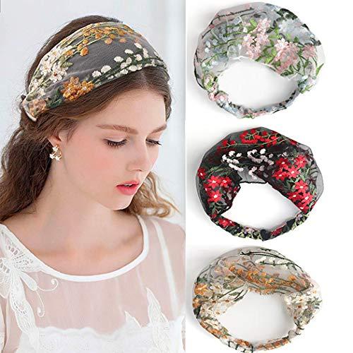 Sethain Fascia vintage Ricamo in pizzo Largo Elastico Boho Headwrap Fascia per capelli yoga 4 pezzi Per donne e ragazze