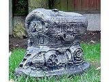 LittleGems Decoración de piedra gitana Romaní Vardo, caravan, jardín, casa, decoración de estatua de regalo en negro o marrón (gris carbón)