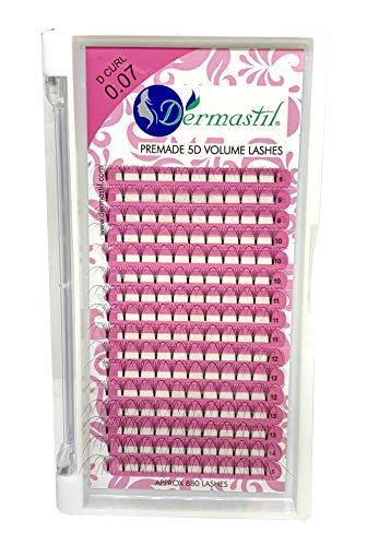 Bouquet Extension De Cils Volume Russe 5D Premade Courbure D Curl Epaisseur 0,07 mm 160 bouquets prêts à l'emploi 16 lignes box by Dermastil (15 mm)