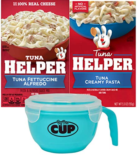 Betty Crocker Creamy Pasta and Fettuccine Alfredo Tuna Helper Variety (Pack of 2) with By The Cup Microwavable Bowl
