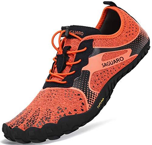 Barfussschuhe Frauen Schnell Trocknend Trail Laufschuhe Herren Leicht Fitnessschuhe Damen Barfuß Zehen Sport Outdoor Schuhe Männer Orange Gr.42