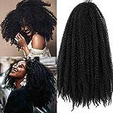 4Pcs Crochet Marley/Havana Braids Hair Synthetic Afro Kinky 4Pcs/ Lot 18 Inch Women Fashion Twist Crochet Braiding Hair Extensions (18'- 4PCS, Natural Black)