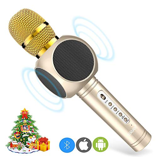 ERAY Micrfono Inalmbrico Karaoke, Micrfono karaoke Bluetooth 4 en 1, 2 Altavoces Incorporados, 3.5mm AUX, Compatible con PC/iPad/iPhone/Smartphone, Color Dorado