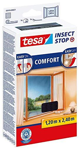 tesa Fliegengitter Comfort Klettband für bodentiefe Fenster, Schwarz, 1,2m:2,4m (3er Pack)