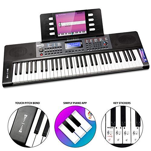 RockJam RJ461 - Teclado de piano digital portátil de 61 teclas con soporte para música y fuente de alimentación, color Negro