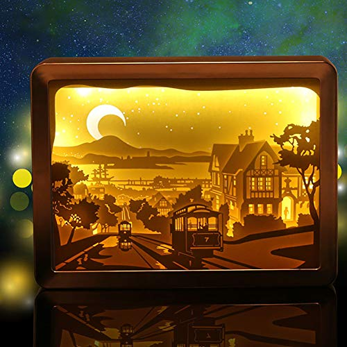 YONGCHY 3D-Illusion Lampe Führte Nachthelle Papier Schnitzen Lampe USB Powered Schlafzimmer Schreibtischlampe Halloween Kinder Geschenke Home Decoration