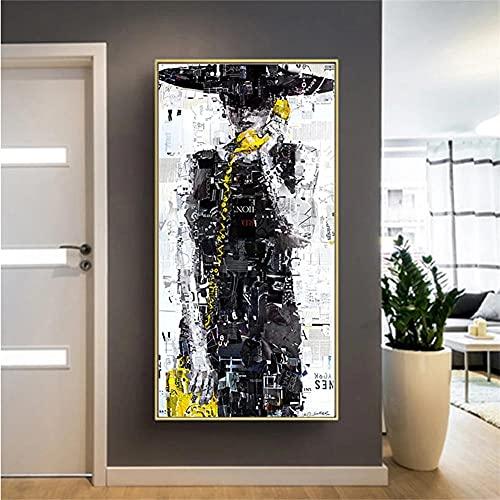 DIY 5D Diamante Pintura por Número Kit Completo Cabina de teléfono de mujer abstracta Pintura de Diamante 5D Bordado de Rhinestone punto de cruz Manualidades Lienzo Para Decoración Del Hogar 40x80cm