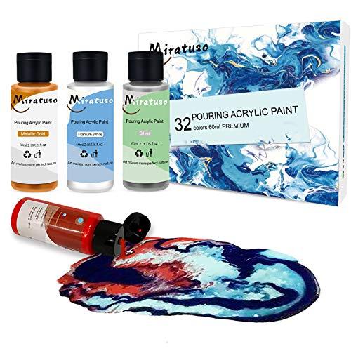 MIRATUSO Acrylic Pouring Paint 32 Colors 60ml (2oz) Pre-Mixed High Flow Acrylic Paint Art Supplies Pour Paint for Canvas, Paper, Wood and Stones