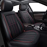LUCKYMAN CLUB Seat Covers fit Most Car SUV Truck fit for Stinger Focus Fusion Edge Escape Sonata Tucson Renegade (Full Set, Black and Red)