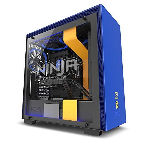 NZXT H700i - Caja PC Gaming de tamaño mediano ATX - Dispositivo inteligente con tecnología CAM - Control de RGB y ventilador - Panel de vidrio templado – Edición Ninja, amarillo/azul
