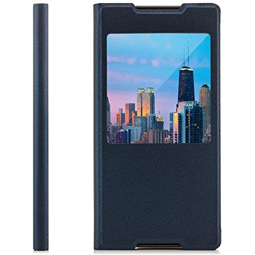 Saxonia Tasche Sony Xperia Z5 Compact Hülle Hülle Schutzhülle Flip View Cover mit Fenster & Kameraschutz Dunkelblau