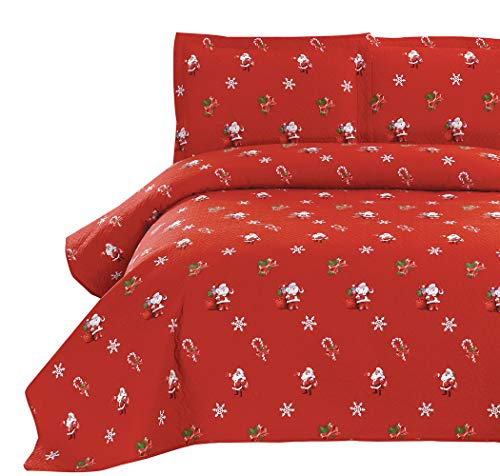Yc Red Happy Santa Claus Quilt Set Christmas Coverlets Lightweight Thin Cartoon Bedding Set Kids Lollipop Bedspread Snowflake Quilt Sets for Twin Size-Santa Claus Pattern