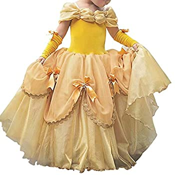 Little Girls Princess Cinderella Rapunzel Dress Belle Party Aurora Sofia Costume Off Shoulder Dress Up Layered Fancy Halloween Cosplay Floor Length Evening Dance Gown Yellow Belle Dress 2-3 Years
