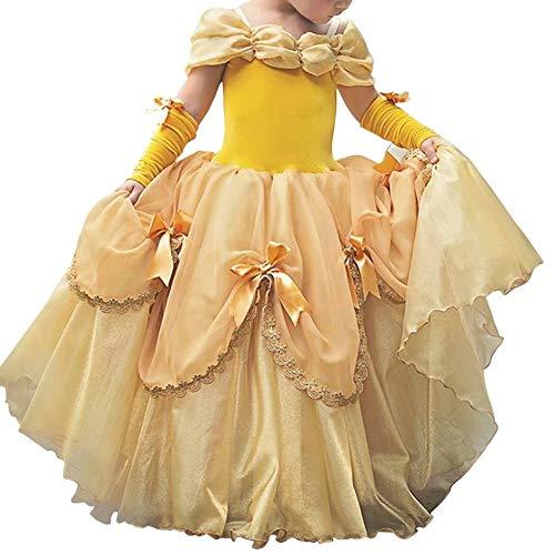 IWEMEK Niñas Bella y la Bestia Vestido de Carnaval Disfraz de Princesa Belle Fuera del Hombro Vestir Traje de Halloween Navidad Cumpleaños Pageant Comunión Fiesta Cosplay Amarillo 6-7 Años