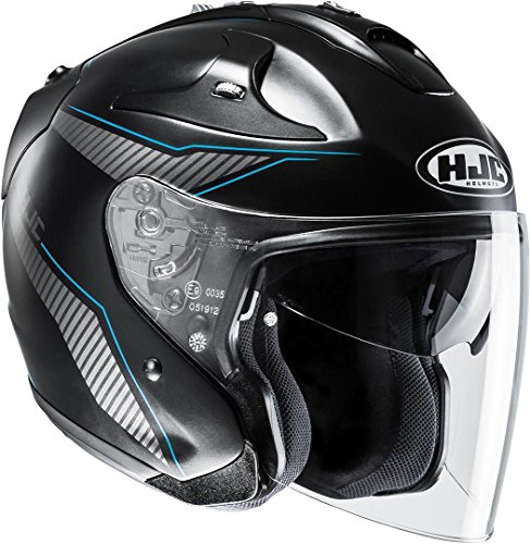 HJC Helmets HJC FG-JET - JIKE / MC2SF - Jethelm/Motorradhelm, GröàŸe:XXL 14137211, Schwarz Matt/Blau, XXL (63/64)
