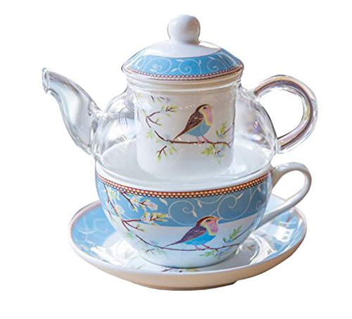 YBK Tech Glass Teapot with a Fine China Infuser Strainer, Happy Bird Pattern Cup and Saucer Set, Teapot and Teacup for One (Blue)