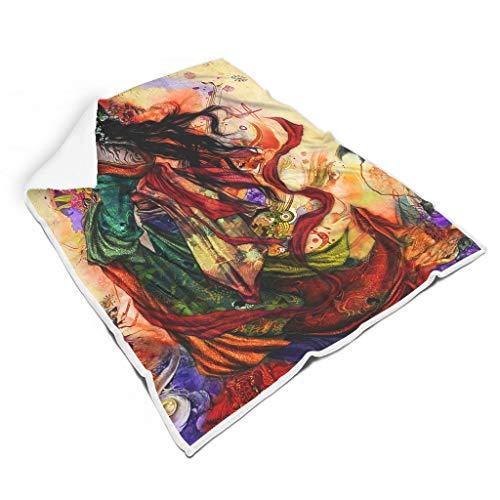 kikomia Leicht Sherpa Decke Bunte Japanisch Geisha Folklore Kunst Druck Retro Haus Dekor Decke Kuscheln Erwachsene&Kleinkind White 130x150cm