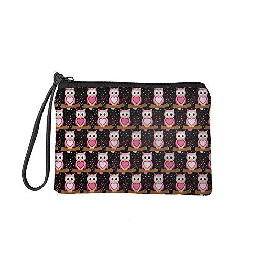chaqlin Bolsa para monedas para mujer, bolsa de maquillaje pequeña de viaje, bolsa de aseo para tarjetas de crédito, Búho de dibujos animados (Rosa) - S-KEA30055D82-20