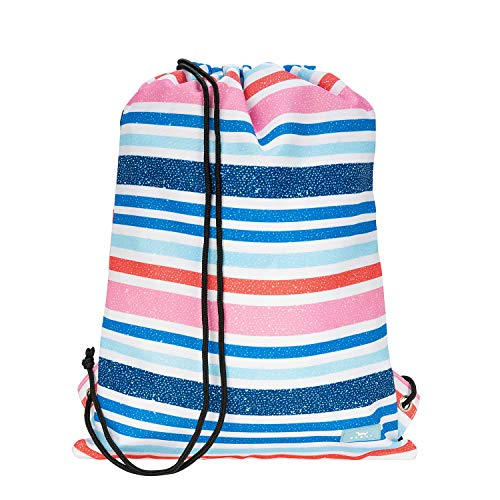 SCOUT Old School Drawstring Backpack, Lightweight Nylon Drawstring Bookbag with Exterior Pocket (Multiple Patterns Available)