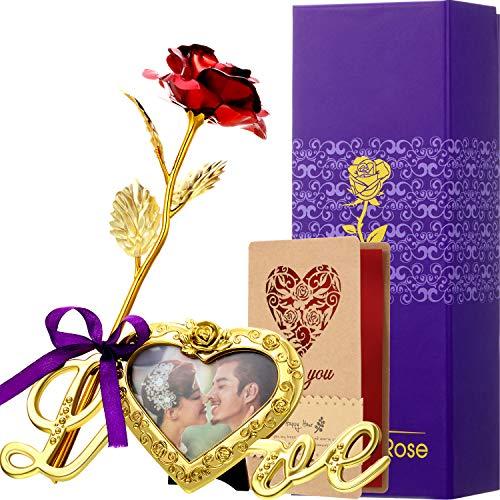 Rosa Artificial de Hoja de Oro con Base de Marco de Foto de Amor y Tarjeta de Felicitación, Flor de Plástico Regalo Romántico Rosa para Novia Esposa Encantadora Dama Amante en San Valentín (Rojo)