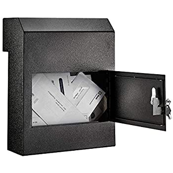 AdirOffice AdirOffice Door Drop Box - Through-The-Door Safe Locking Drop Box - Door Mail Slot (Black)