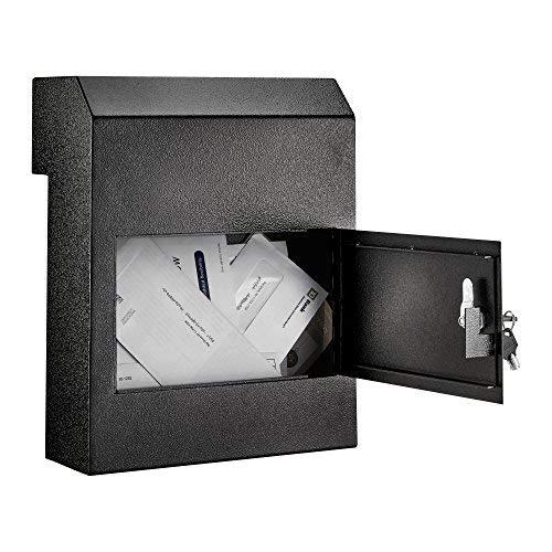 AdirOffice AdirOffice Door Drop Box - Through-The-Door Safe Locking Drop Box - Door Mail Slot (Black)