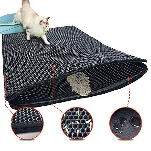 Tappetino per lettiera migliorato   Tappetino 70 x 55 cm per lettiera a nido d'ape tappetino per lettiera per gatti impermeabile doppio strato, facile da pulire tappetino per lettiera