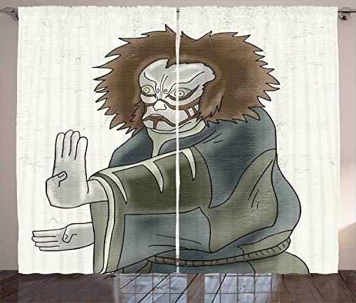 ABAKUHAUS Kabuki Rustikaler Gardine, Theater-Charakter, Schlafzimmer Kräuselband Vorhang mit Schlaufen und Haken, 280 x 175 cm, Mehrfarbig