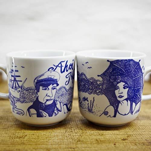 Kaffeebecher 2er-Set - z.B. als Hochzeitsgeschenk für Brautpaare - Motiv Lona & Piet - Maritime Porzellan-Tasse original aus dem Norden