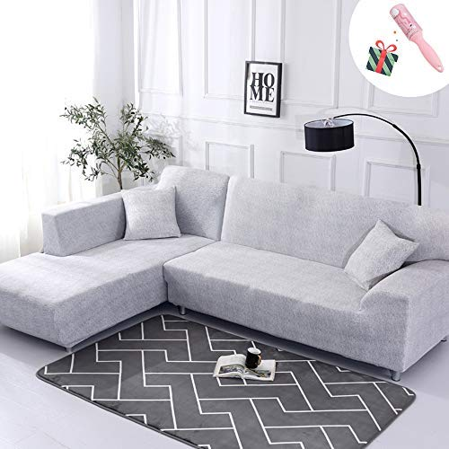 Funda Sofá de 3 plazas Universal Estiramiento, Morbuy Cubierta de Sofá Cubre Sofá Funda Furniture Protector Antideslizante Elastic Soft Sofa Couch Cover (4 plazas,Agua Gris)