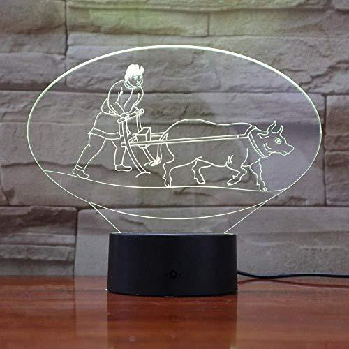 Bestseller Einzigartige Chinesische Kultur Pflügen 3D Lampe 7 Farben Mit Fernbedienung LED Nachtlicht Lampe Hologramm Einzigartiges Geschenk