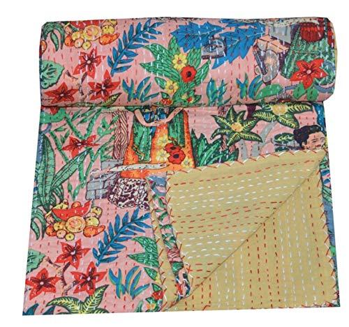 Yuvancrafts - Colcha para cama de matrimonio (100% algodón, 100% algodón), diseño de Kantha