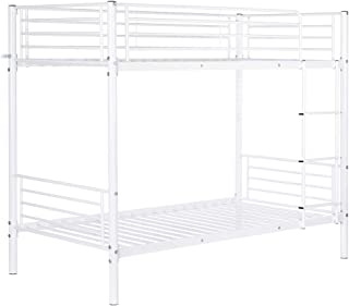 Bonnlo Twin Metal Bunk Bed with Safety Rail and Anti-Slip Flat Step, Twin Over Twin, White