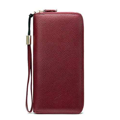 Cartera multifuncional Monedero de mujer de embrague femenino carteras de pulsera de PU Monederos largos para mujeres para tarjetas Mujeres embrague bolsas de dinero Alta capacidad ( Color : Red )