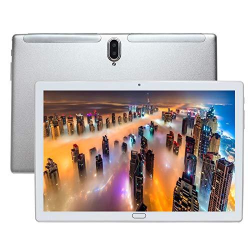 Tablet 4G LTE da 10 pollici, Deca Core Android 10.0 certificato da Google GMS 4GB RAM, 64GB ROM Tablet IPS HD, 8000 mAh, doppio altoparlante stereo, WiFi / Bluetooth / GPS / Type-c (Argento)