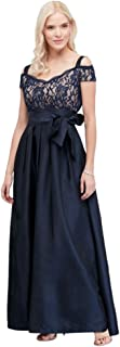 Pleated Taffeta Mother of Bride/Groom Dress with Glitter Lace Bodice Style 2056