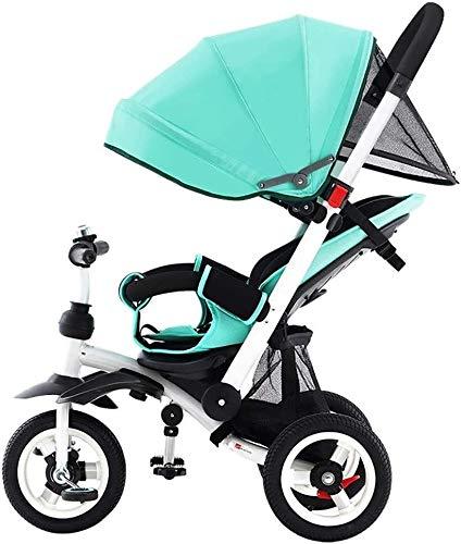 NUBAO Triciclo Triciclo para niños Plegable asador Ventilador multifunción 4 en 1 Triciclo Trasero reclinable 1-6 años de Edad bebé Triciclo al Aire Libre 2 Colores 95x52x (90-105) cm (Color: Azul)