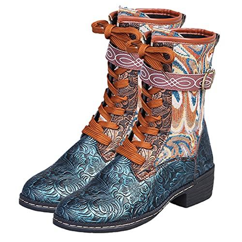 woyada Botas Martin de otoño Invierno para Mujer Botas de Tubo de Medio de PU Artificial Zapatos Martin con Hebilla Antideslizante y tacón Cuadrado Comfortable