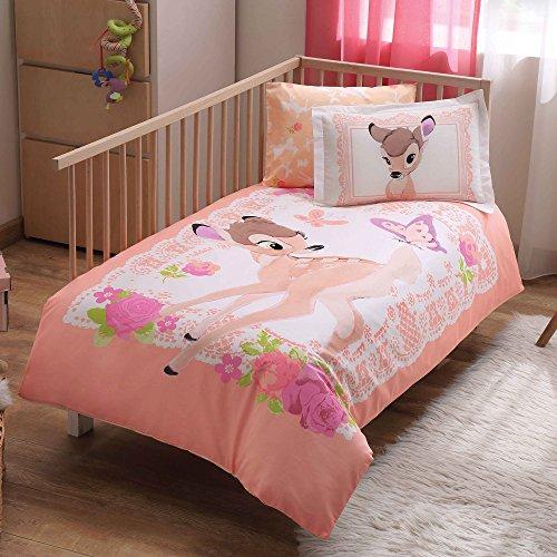 TAC Newy Home Bambi, Kids Baby Duvet Cover Set, 100% Cotton, Single Size, Flat Sheet, 4 Pieces