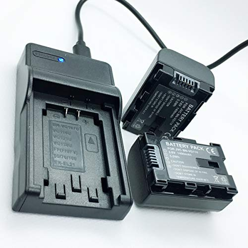 Battery 2 Pack and USB Rapid Travel Charger For JVC Everio GZ-HM35BU, GZ-HM40BU, GZ-HM65BU HD Flash Memory Camcorder